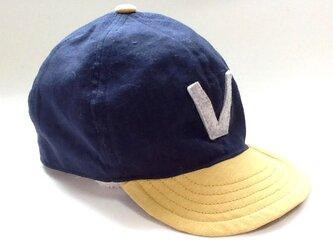 アルファベットキャップ『V』 国産ハーフリネン生地 の画像