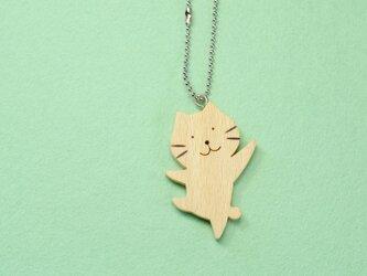 やる気ネコ / 猫 木のキーホルダーの画像