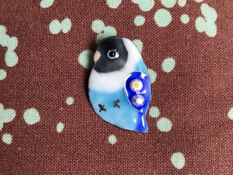 受注製作 七宝  ボタンインコ ブルーボタン ブローチの画像