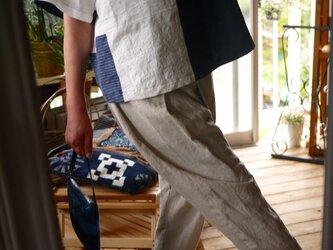 結城紬と久留米絣とリネンのTシャツブラウスの画像