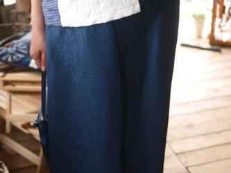 正絹100紬の幅広ストレートパンツの画像
