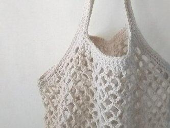ネット編みのグラニーバッグ…バニラ…の画像