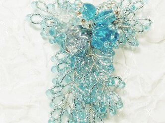 藤の花のコサージュ・ブローチ(ブルー)の画像