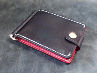【ブラック&レッド】巾85mmフラットになるマネークリップ カード4枚+マルチポケット 札ばさみ MC-10br 【受注生産】の画像