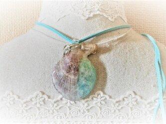 蓄光☆ナデシコ貝の光る海封入標本ネックレスの画像
