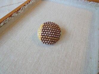 手織り ブローチ 黄色シリーズ 丸・小6の画像