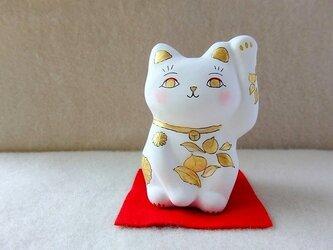 招き猫 桃と七宝の画像