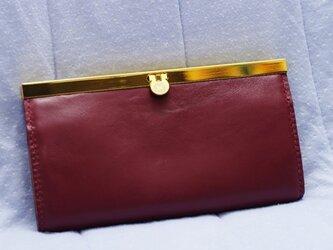 文鎮口金の長財布 あずき色の画像