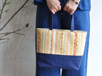織地×帆布 トートバッグ(小さいサイズ)ーKIIRO絹ーの画像
