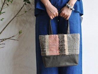 織地×帆布 トートバッグ(小さいサイズ)ーFUWAMOKO絹ーの画像