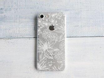 iPhoneクリアケース/ボタニカルフラワー柄ホワイトラインの画像
