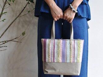 織地×帆布 トートバッグ(小さいサイズ)ーFUJInoHANA絹ーの画像
