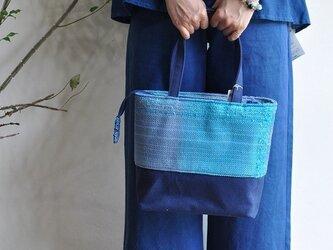 織地×帆布 トートバッグ(小さいサイズ)ーUMI 絹ーの画像