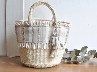 織布×サイザルバッグ ~SHIRO 絹~の画像