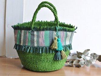 織布×サイザルバッグ ~MIDORI 絹~の画像