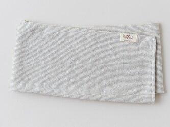 リネンニット ストライプフェイスタオル ナチュラル×ホワイトの画像