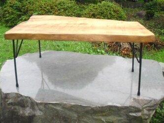 とちの木 アイアン脚 変則ローテーブルの画像
