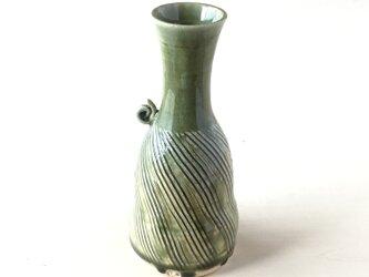 緑釉櫛目カタツムリ一輪挿し(酒器)の画像
