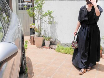 イタリアリネン マキシスカート 黒の画像