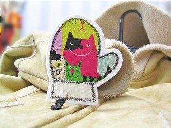 ★猫柄の鍋つかみ★アップリケワッペン★の画像