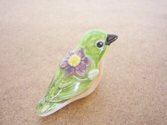 メジロ 花小鳥/小(陶)の画像