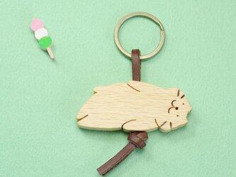 ぷにぷにネコ / 猫 木のキーリングの画像