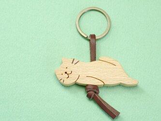 ひとやすみネコ / 猫 木のキーリングの画像