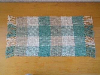 手織り 麻糸マット グリーン・2の画像