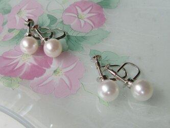 淡水真珠の一粒イヤリング (7mm珠使用)の画像