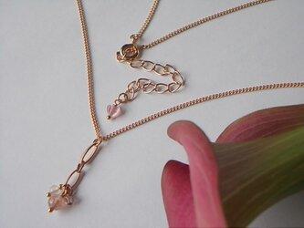 ピンクゴールドのリーフリング*ネックレスの画像
