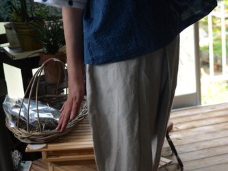 久留米絣としじら織ストライプのTシャツブラウスの画像