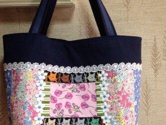 PJC黒猫刺繍 帆布 パッチワークトートバッグの画像