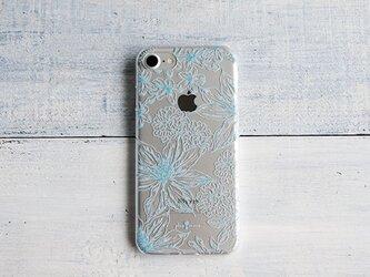 iPhoneクリアケース/ボタニカルフラワー柄ブルーラインの画像