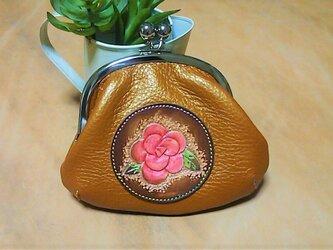 革のガマ口財布&小物入れ 薔薇の画像