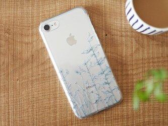 iPhoneクリアケース/緑草柄ディープグリーンラインの画像