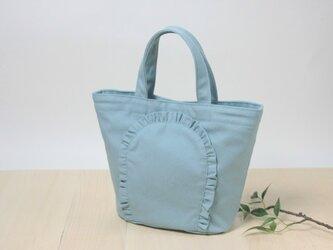 ミニ・フリルトートバッグ ターコイズブルーの画像