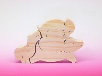 送料無料 木のおもちゃ 動物組み木 ハートとダックスフントの画像