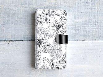 手帳型スマホケース/ボタニカルフラワー柄*ホワイトの画像
