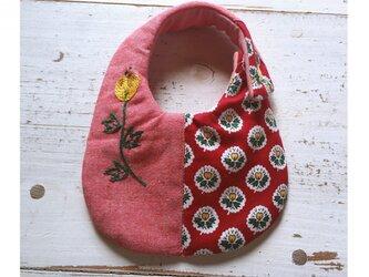 Rojiベビービブ/RED 刺繍花一輪の画像