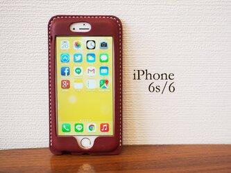 iPhone6s/6 カバー ケース ワインレッド【選べるステッチ】【名入れ可】の画像