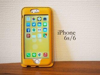 iPhone6s/6 カバー ケース 黄色【選べるステッチ】【名入れ可】の画像
