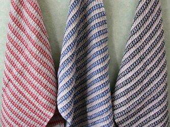 手織りワッフル織のタオルの画像