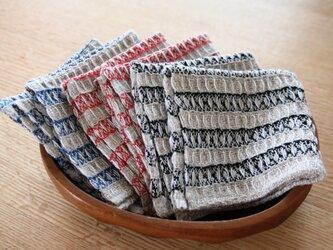 手織りワッフル織のハンカチの画像