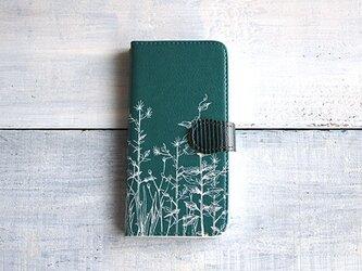 手帳型スマホケース/緑草柄*グリーンの画像