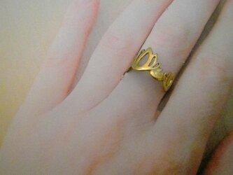 透カシ睡蓮真鍮指輪の画像