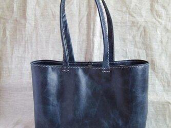 【madoka様オーダー品】ラクダ革のしっかりA4トートバッグ(紺色)の画像