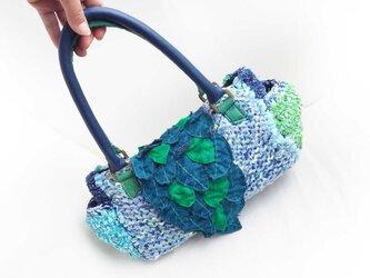 葉っぱカブセの☆裂き編みショルダーバッグ☆ブルー×グリーンの画像