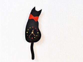再再販 黒ネコの振り子時計 赤い大きなリボンの画像