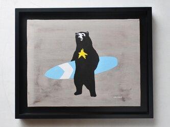 星熊のサーファー(B×W) 額装済みF6サイズ絵画の画像