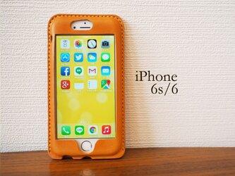 iPhone6s/6 カバー ケース キャメル【選べるステッチ】【名入れ可】の画像